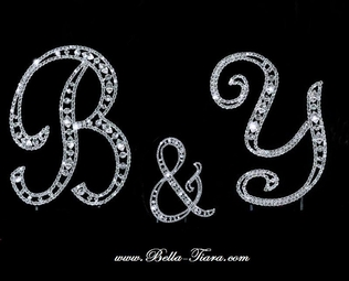 Swarovski letters crystal wedding cake topper - SALE