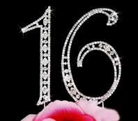 Sweet 16 Large Cake Topper Swarovski Crystal Numbers - SALE