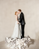 """Tie(ing) the Knot"" Vintage Rose Pearl Wedding Cake Topper"