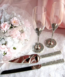 Toasting Glasses- Crystal Glitter Galore toasting glasses <br><i>Custom Engraving</i>