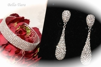 Treasure - Elegant Swarovski crystal drop earrings and cuff bracelet  SPECIAL