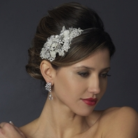 Velma - Romantic ivory floral beaded wedding headband - SALE