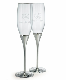 Venice Silver Toasting Flutes w/ Swarovski crystal - Personalized