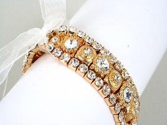 Victorian Triple Row Gold Rhinestone Stretch bracelet