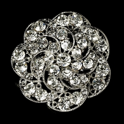 Vintage Antique Silver Rhinestone Bridal Brooch