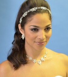 Vintage antique silver rhinestone stretch wedding headband - SALE!!