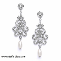 Vintage Chandelier Earrings with Cubic Zirconia & Freshwater Pearls