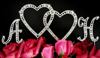 Vintage Double Heart Crystal Cake Topper