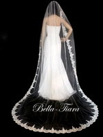 Vintage dreams Regal super long beaded lace cathedral veil - SALE