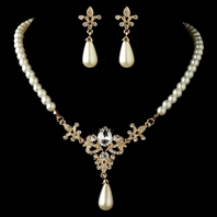 Vintage gold ivory pearl wedding necklace set
