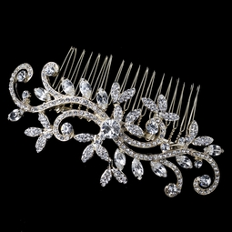 Vintage gold swirl crystal wedding hair comb - sold