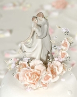 Vintage ivory First Kiss Wedding Cake Topper  - SALE!!!