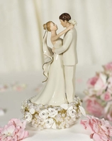 Vintage Ivory Pearl Wedding Bride and Groom Cake Topper