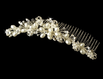 Virginia - Elegant ivory pearl and crystal bridal comb - SALE