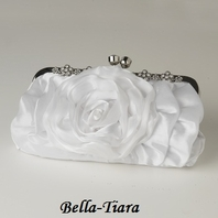 White Floral Rose Rhinestone Evening Bag