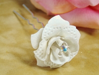 White Glitter Rose Wedding hairpin