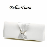 white or ivory satin elegant Wedding clutch Purse 76e44828438df