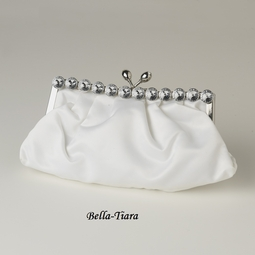 White Satin Rhinestone Evening Bag
