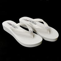White Wedge Flip Flops with Sequins & Swarovski Crystals