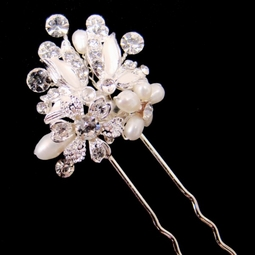 Zelia-Freshwater Pearl, Swarovski Crystal Bridal Hair Pin (Sold Individually)