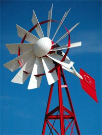 Outdoor Water Solutions, Powder Coated (2 Colored) 3 Legged Windmill Aeration System - 16'