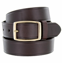 "Full Leather Work Uniform Belt 1-1/4"" Wide - Brown"