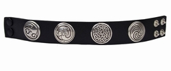0225 Black Full Grain Genuine Italian Saddle Leather with Irish Style Conchos