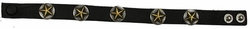 0524 Black Full Grain Genuine Italian Saddle Leather Wristband with Star Conchos