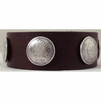 0628 Dark Brown Full Grain Genuine Italian Saddle Leather Wristband with Coin Conchos
