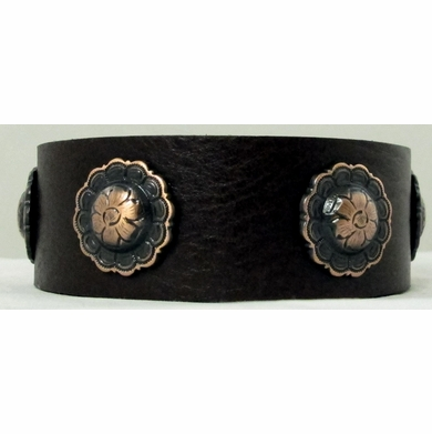 0730 Dark Brown Full Grain Genuine Italian Saddle Leather Wristband with Flower Conchos