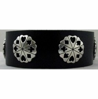 0808 Black Full Grain Genuine Italian Saddle Leather Wristband with Card Suit Conchos