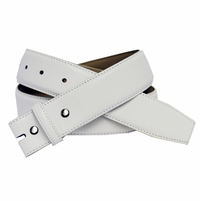 "White Smooth Leather Belt Strap 1-1/2"" Wide"