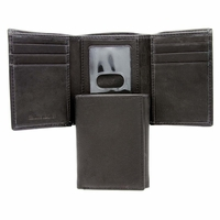 1-130-4F Men's Trifold Genuine Leather Wallet - Black