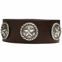 1002 Dark Brown Full Grain Genuine Italian Saddle Leather Wristband with Star Conchos
