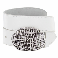 Antique Silver Mesh Casual Jean Genuine Leather Belt
