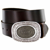 Oval Trench Pattern Belt Buckle Casual Jean Leather Belt