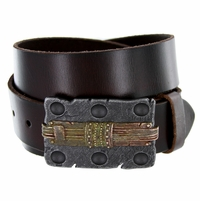 Steam Punk Bark Engraved Buckle Casual Jean Genuine Leather Belt
