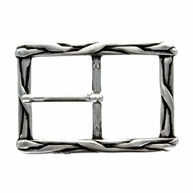 100559-40 Silver Weave Antique Engraved Belt Buckle Made In Italy Belt Buckle