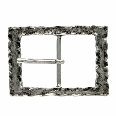 100566 Antique Silver Rectangular Center Bar Belt Buckle