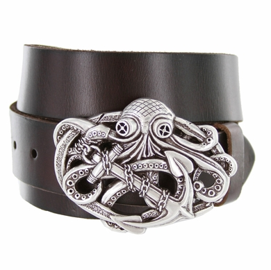 Octopus Boat Anchor Buckle Casual Jean Genuine Leather Belt
