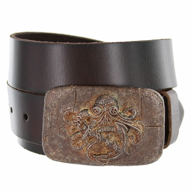 Old Copper Octopus Boat Anchor Buckle Casual Jean Genuine Leather Belt