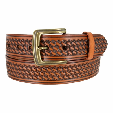 "10309 Basketweave Men's Work Uniform Casual Belt 1 1/2"" Wide-Tan"