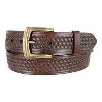 "10310 Basketweave Men's Work Uniform Casual Belt 1 1/2"" Wide - Brown"