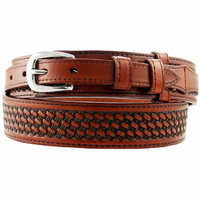 10571 Western Basketweave Genuine Full Grain Leather Ranger Belt - Tan