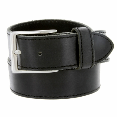 Made In Italy Men's Full Grain Leather Casual Jean Belt - Black