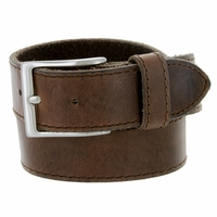 Made In Italy Men's Full Grain Leather Casual Jean Belt - Brown