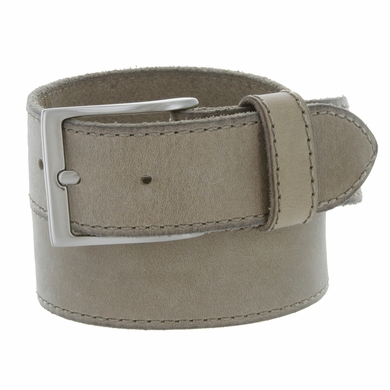 Made In Italy Men's Full Grain Leather Casual Jean Belt - Taupe