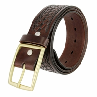 "10855 Reno Heavy Duty Basketweave Men's Work Uniform Gun Belt 1 3/4"" Wide - Brown"