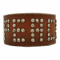 108B Genuine Leather Peace Rhinestone Wristband