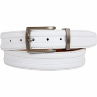 1108404 Nike Golf Tour Men's Trapunto G-Flex Leather Belt - White
